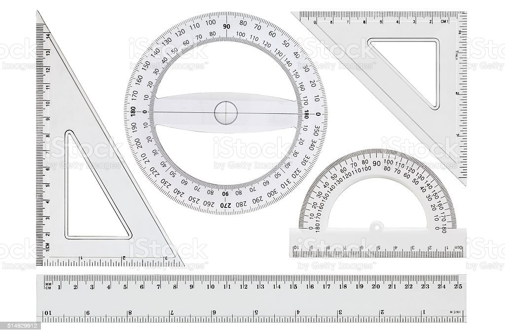 Set of white transparent rulers, isolated on white background stock photo