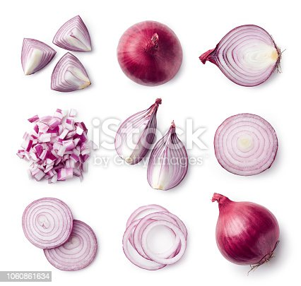 Set of whole and sliced red onions isolated on white background. Top view