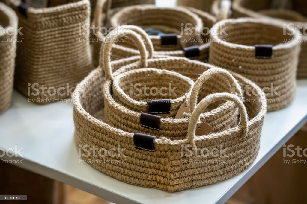 Set Of Wicker Baskets Of Handmade Different Sizes An Organic ...