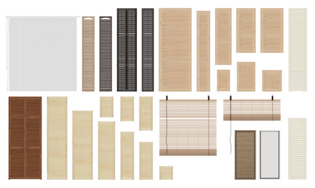 a set of window jalousie and shutters. isolated on white background. front view. - com portada imagens e fotografias de stock