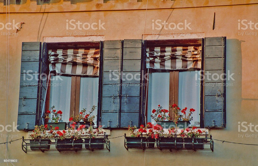 Set of Windows and Flower Boxes royalty-free stock photo