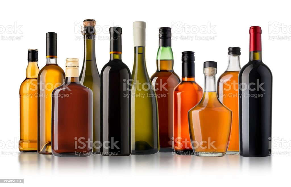 Set of wine and brandy bottles. stock photo