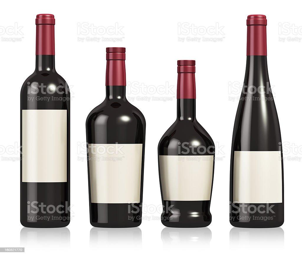 Set of wine and cognac bottles stock photo