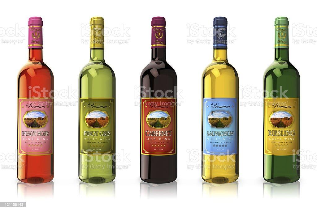 Set of wine bottles royalty-free stock photo