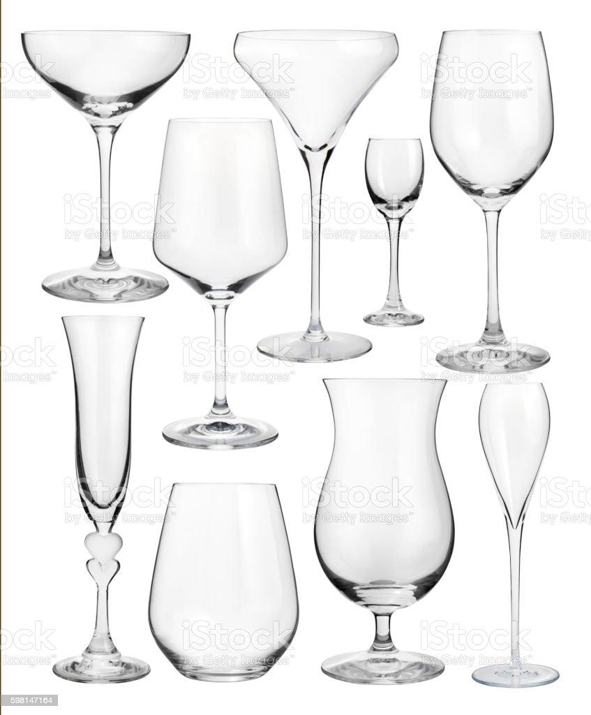 Set of wineglasses isolated on white stock photo