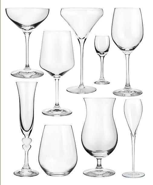 Set of wineglasses isolated on white