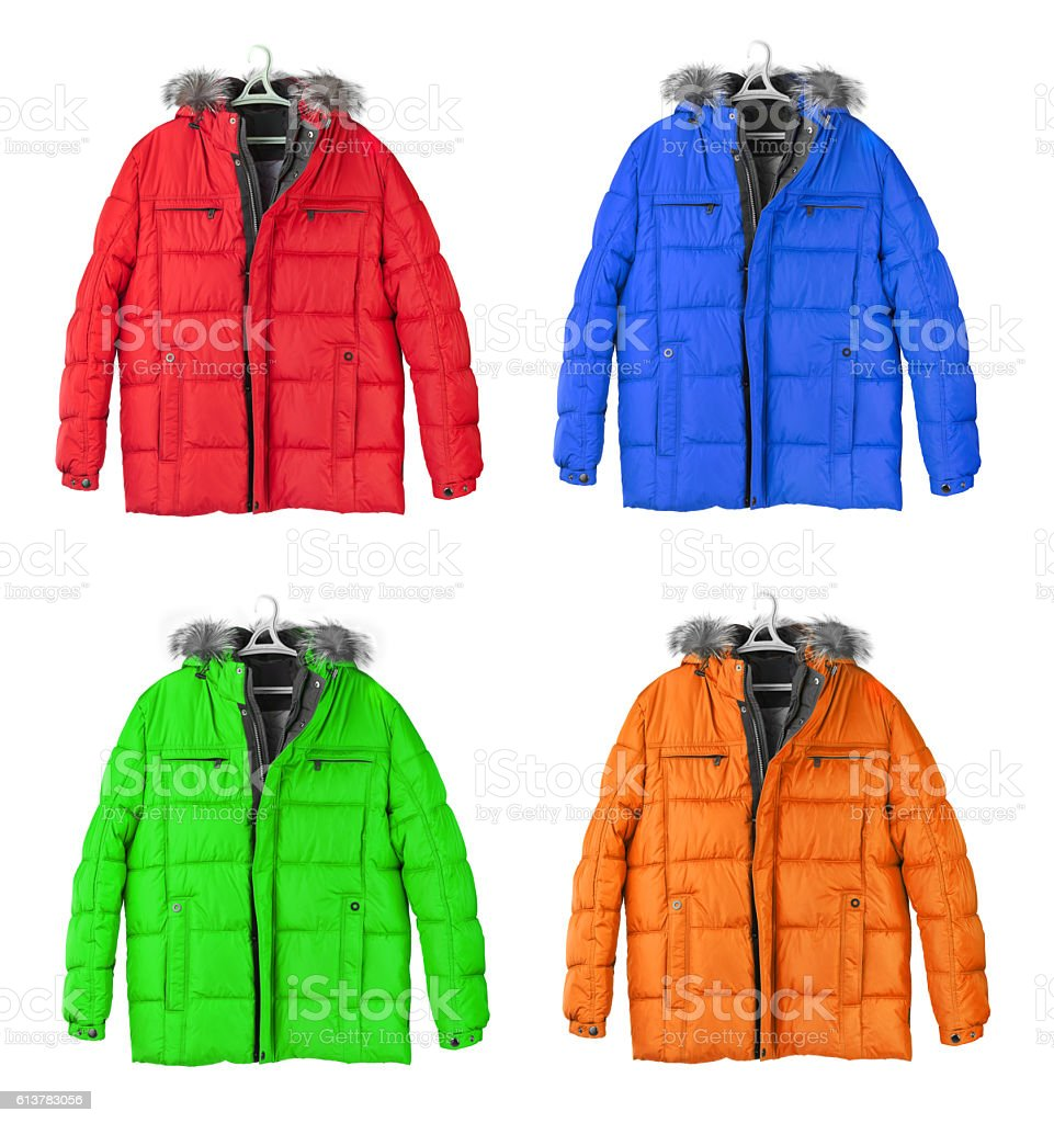Set of winter jackets stock photo