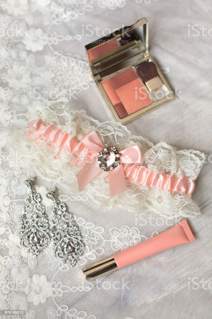 Set of woman accessories and cosmetics collection. Bridal morning in...