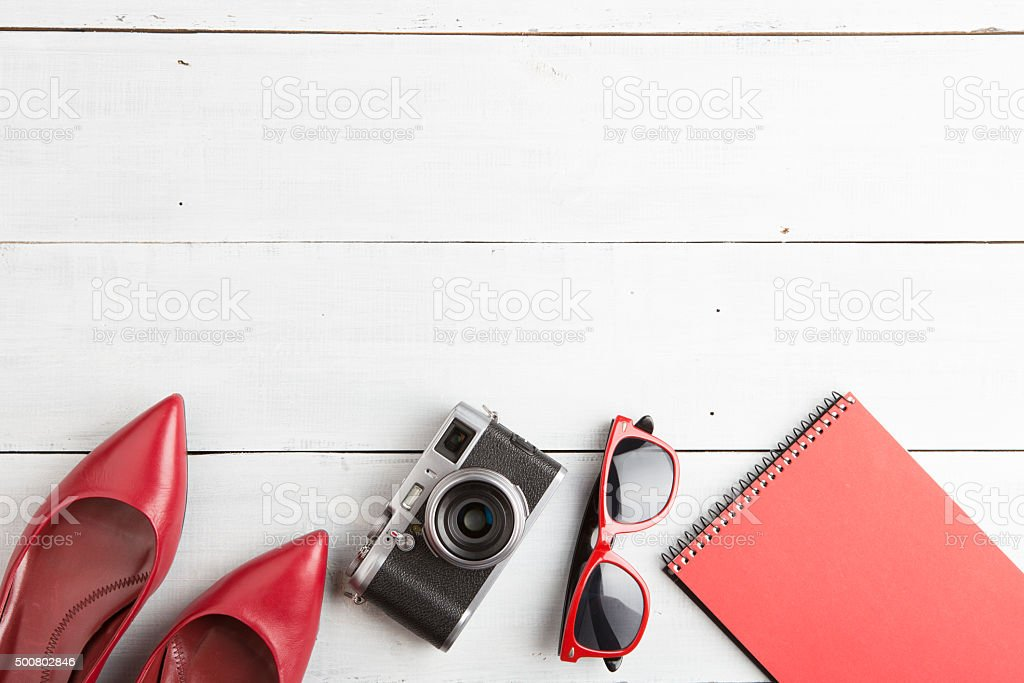 set of woman stuff on wooden background stock photo