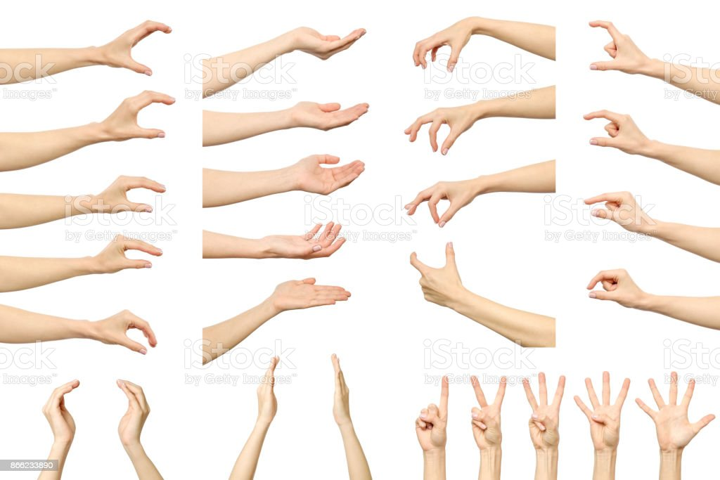 Set of woman's hand measuring invisible items. Isolated on white stock photo