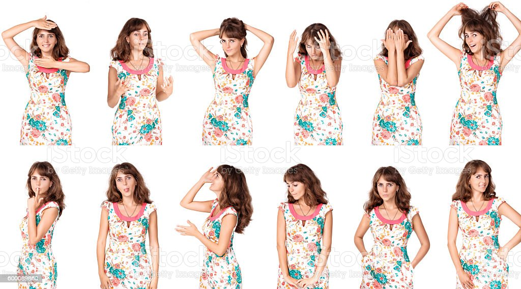 Set of  woman's  portraits stock photo