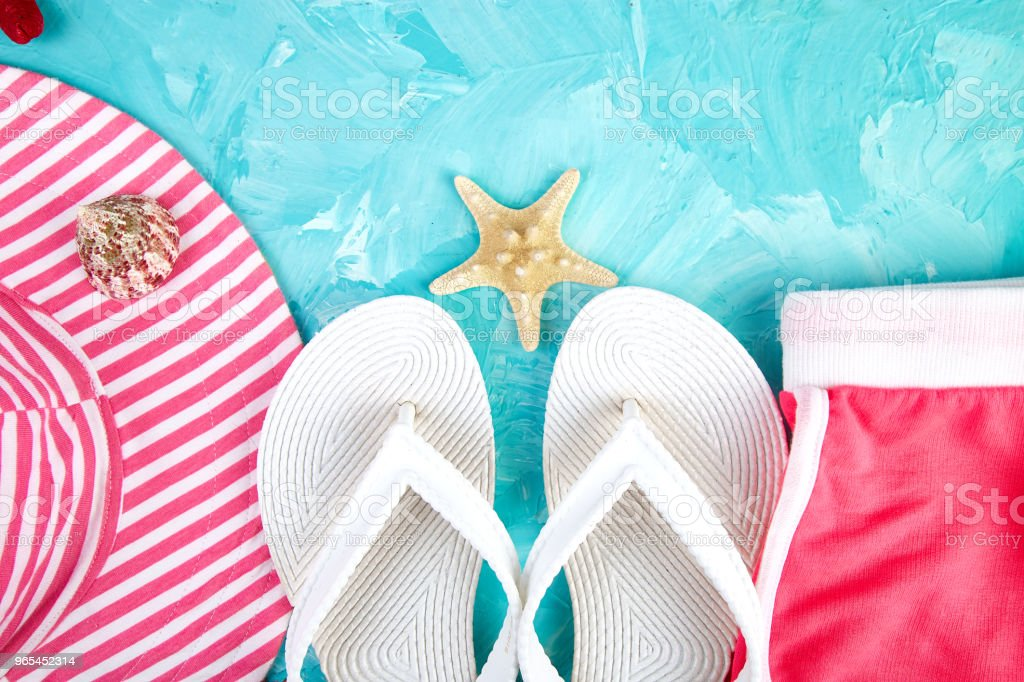 Set of Woman's things accessories summer season. royalty-free stock photo