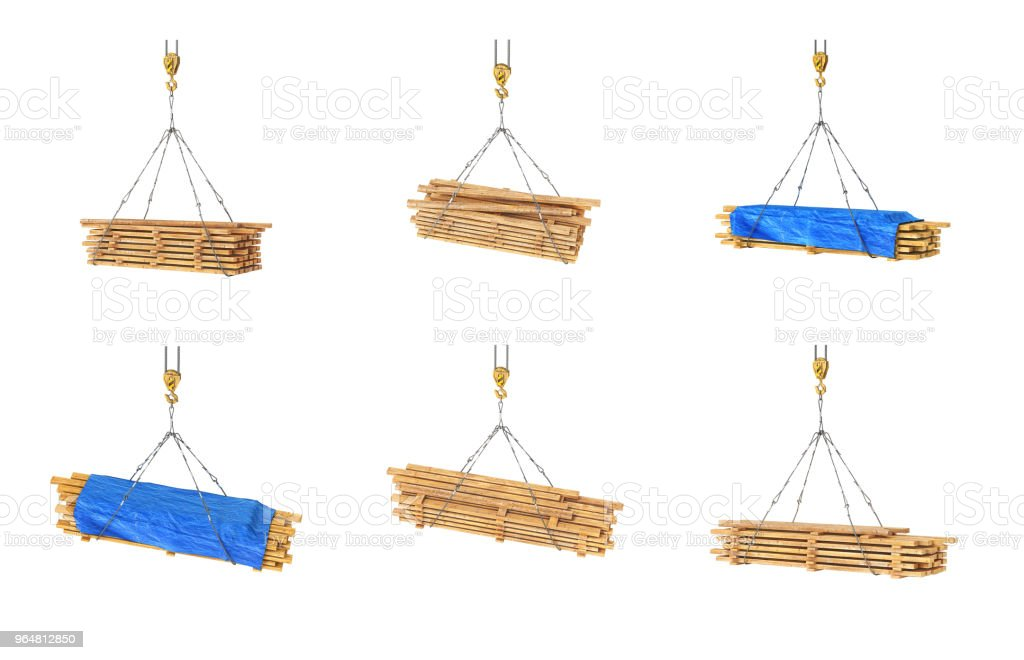 Set of wooden beams on the crane 3d illustration royalty-free stock photo