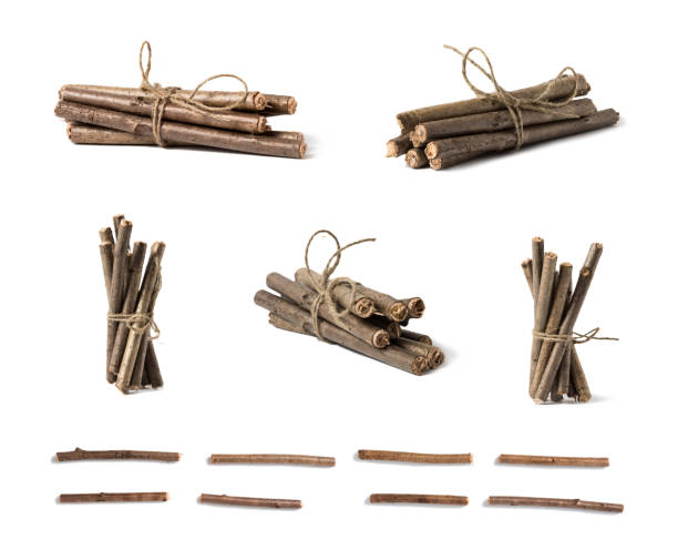 A set of wooden branches twisted with a rope. A set of wooden branches twisted with a rope bundle stock pictures, royalty-free photos & images