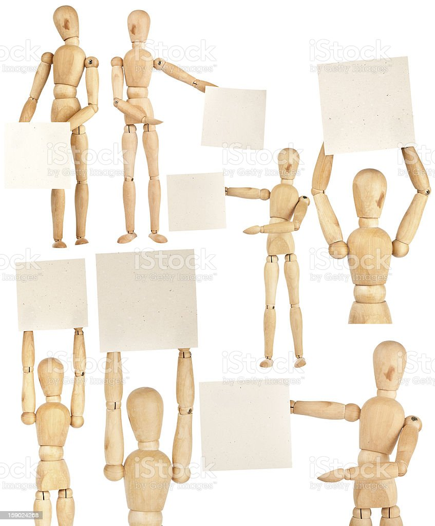 Set of wooden dummies royalty-free stock photo