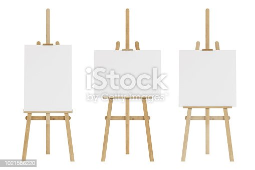 1021586250istockphoto Set of wooden easels with empty mockup. Isolated on white background. 3D rendering. 1021586220
