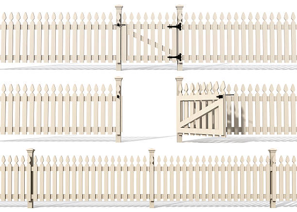 set of wooden fence - open gate stock photos and pictures