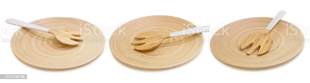 Set of Wooden Fork Cutlery on Wooden Tray stock photo