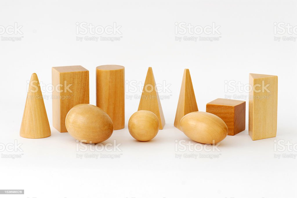 Set of wooden geometric objects stock photo