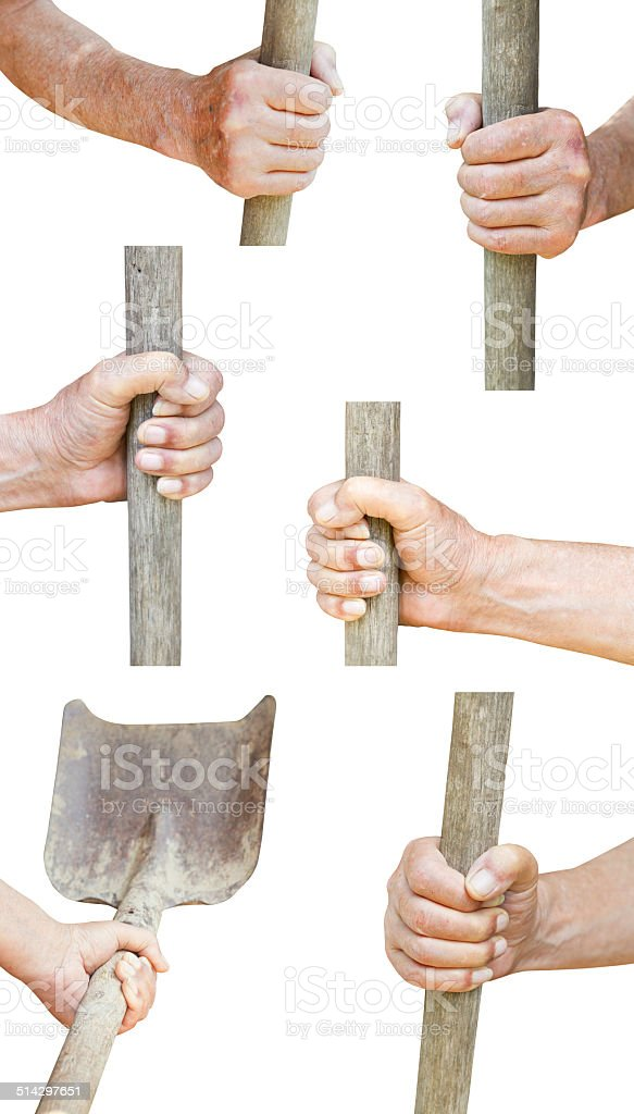 set of worker hand holds old shovel stock photo