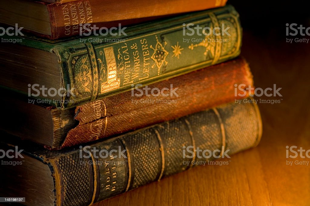 Set of worn out stacked old books royalty-free stock photo