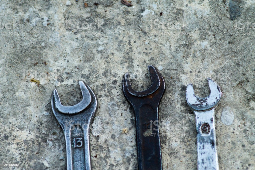 Set of wrench handy industrial tool sold keys in a mechanical workshop handy tool royalty-free stock photo