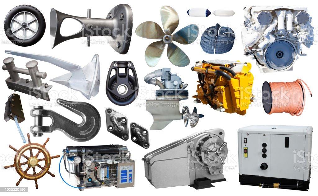 Set of yacht parts isolated on white stock photo
