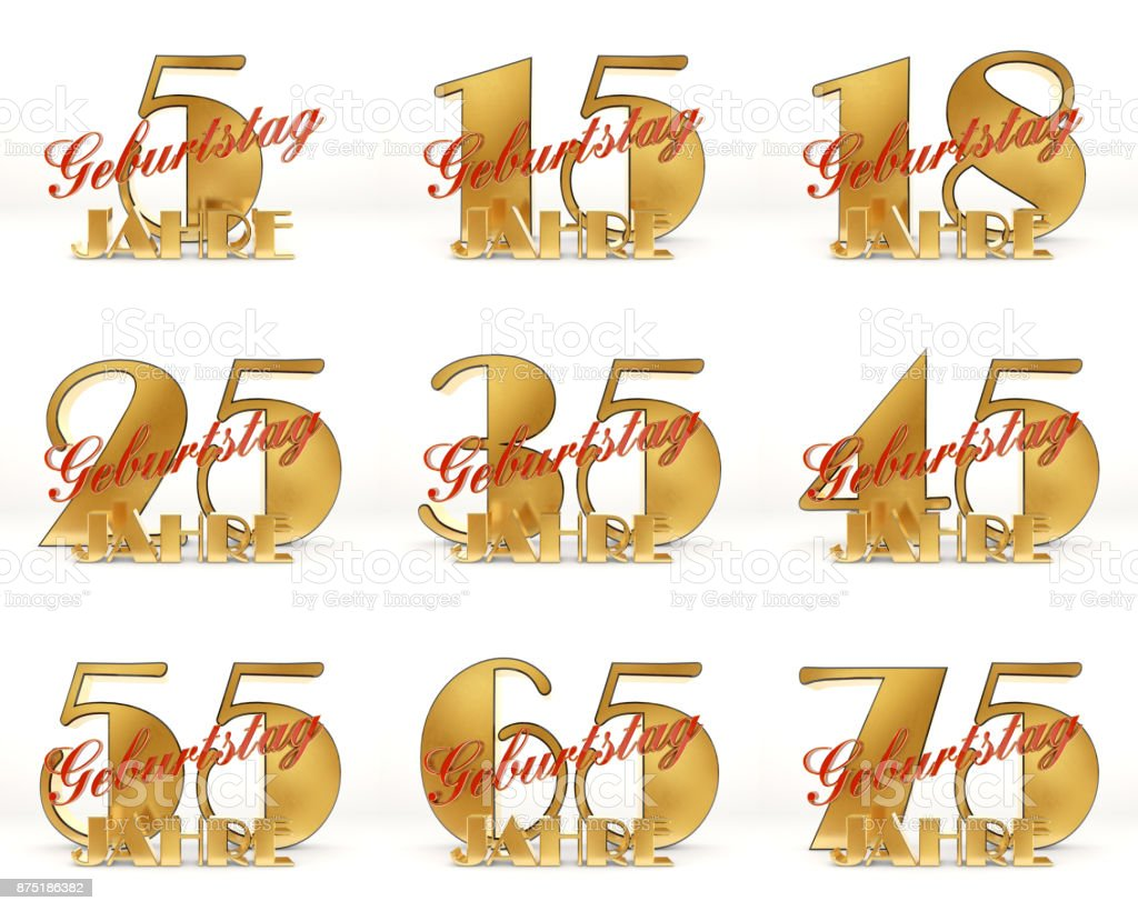 Set of Years celebration design. Anniversary golden number template elements for your birthday party. 3D illustration. Translated from the German - years. stock photo