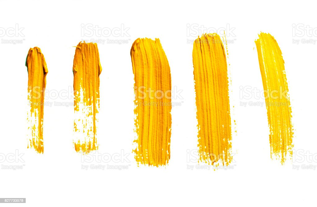 Sarı akrilik fırça darbeleri kümesi stok fotoğrafı