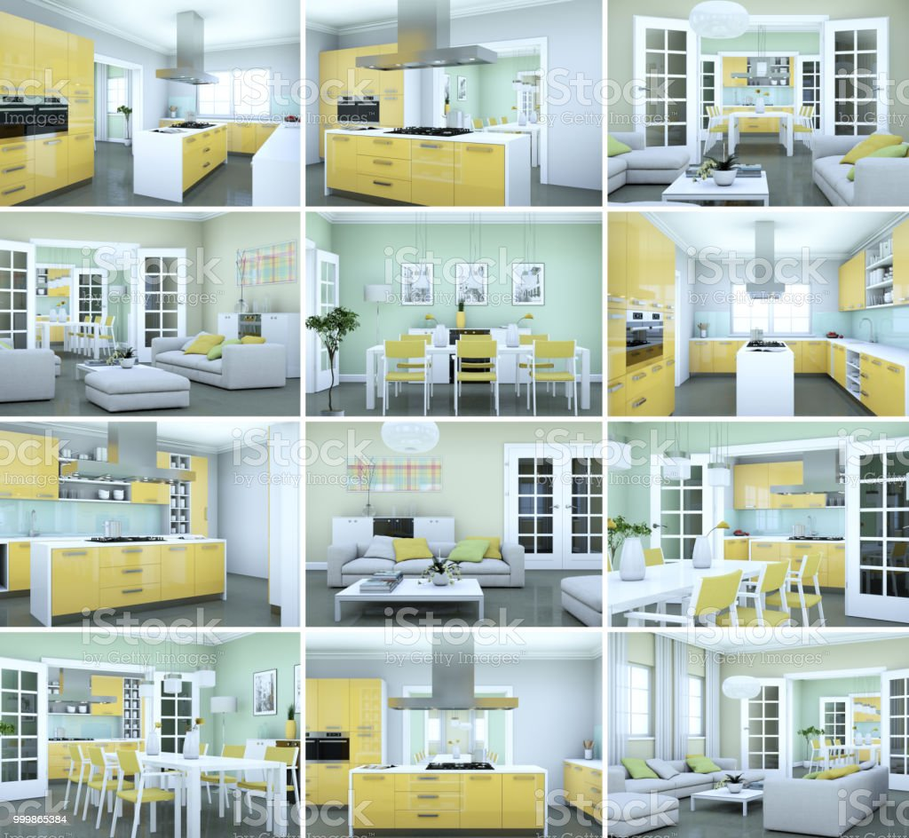 Set Of Yellow Kitchens In Modern Interior Design Stock Photo Download Image Now Istock