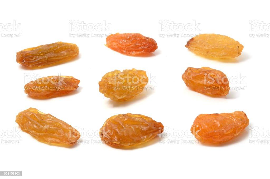 Set of yellow raisins on white stock photo