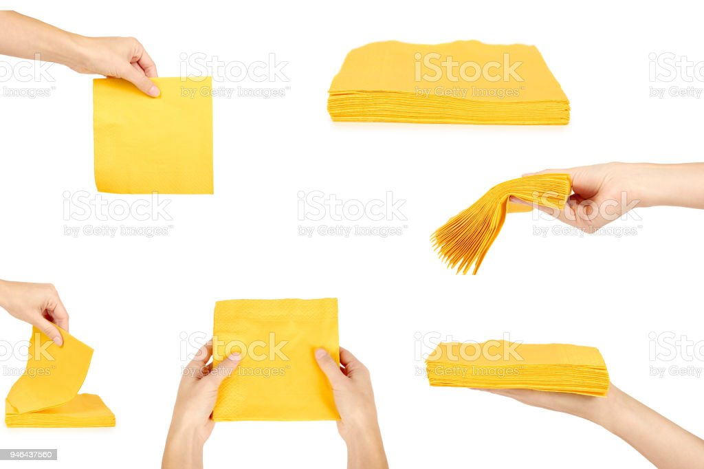 set of yellow Square Bar Napkins, woman hand, Isolated on White Background stock photo