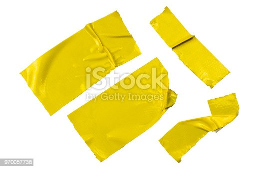 istock Set of yellow tapes on whie background. Torn horizontal and different size yellow sticky tape, adhesive pieces. 970057738