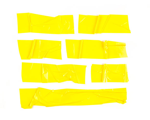 Set of yellow tapes on white background. Torn horizontal and different size yellow sticky tape, adhesive pieces. - Image Set of yellow tapes on white background. Torn horizontal and different size yellow sticky tape, adhesive pieces. - Image tape stock pictures, royalty-free photos & images