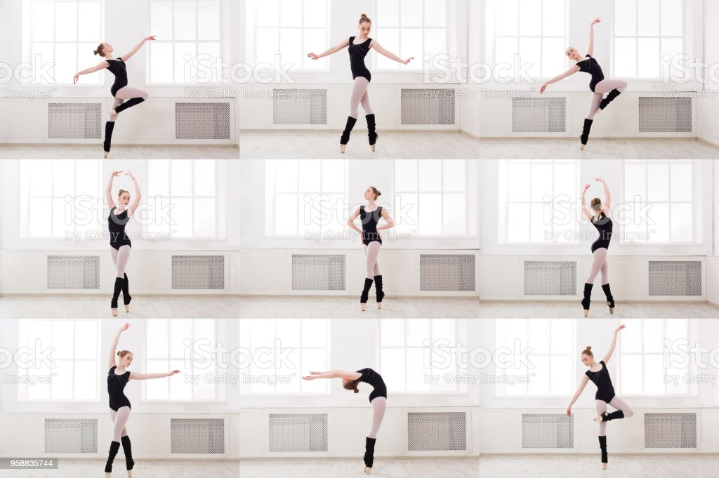 Set Of Young Ballerina Standing In Ballet Poses Stock Photo Download Image Now Istock