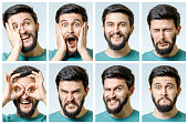 istock Set of young man's portraits with different emotions and gestures isolated 688583378