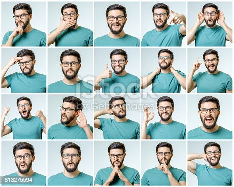 istock Set of young man's portraits with different emotions and gestures isolated 813275594