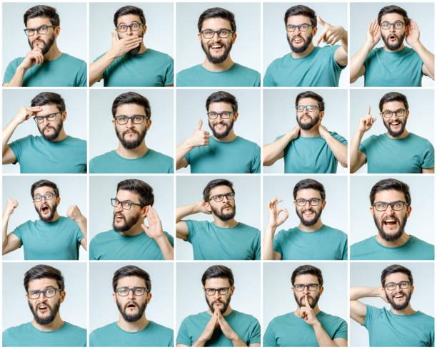 satz des jungen mannes porträts mit verschiedenen emotionen und gesten isoliert - gestikulieren stock-fotos und bilder