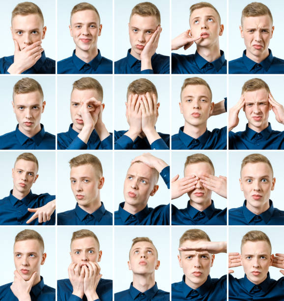 set of young man's portraits with different emotions and gestures - sport set competition round stock photos and pictures