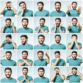 istock Set of young man's portraits with different emotions and gestures isolated 879163086