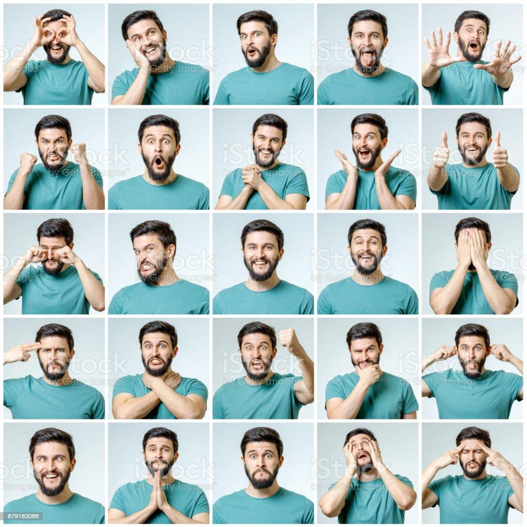 Aantal jonge man portretten met verschillende emoties en gebaren geïsoleerd foto