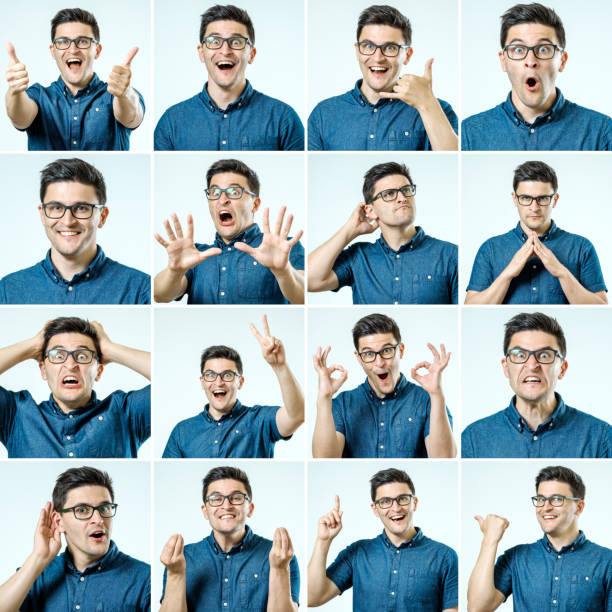 set of young man's portraits with different emotions and gestures isolated - excited emoji stock photos and pictures