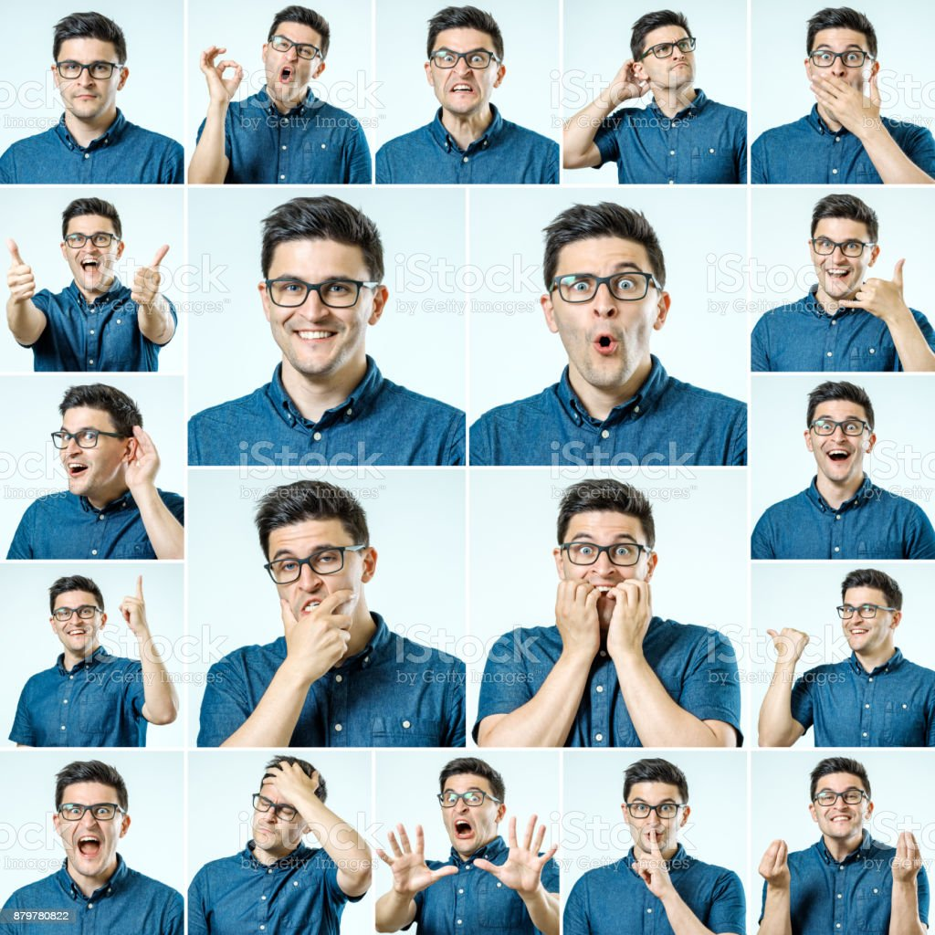 Set of young man's portraits with different emotions and gestures isolated stock photo