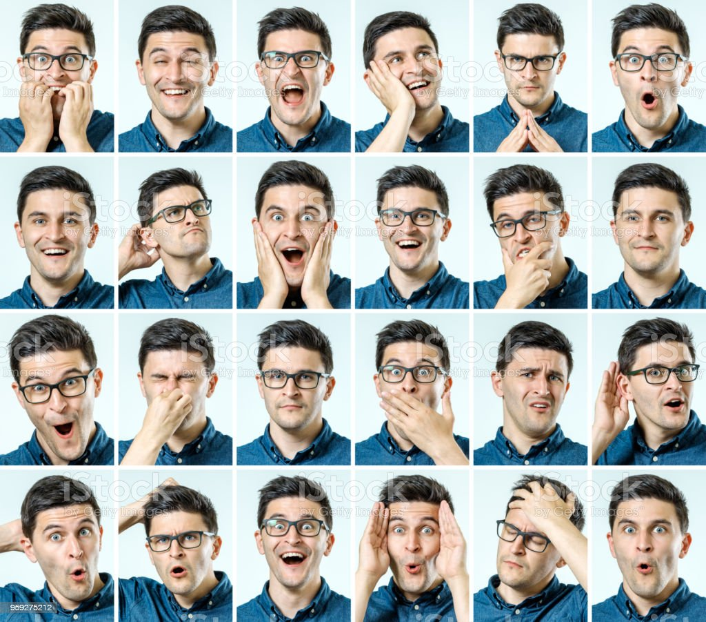 Set of young man\'s portraits with different emotions isolated