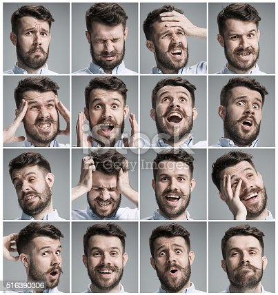 istock Set of young man's portraits with different emotions 516390306