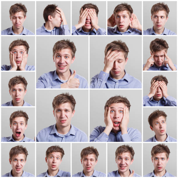 set of young man's portraits with different emotions - excited emoji stock photos and pictures