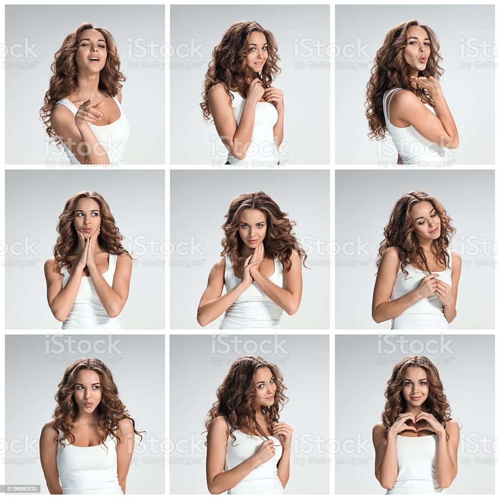 Set of young woman\'s portraits with different happy emotions on gray...