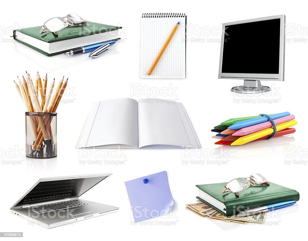 set office belongings isolated on white royalty-free stock photo
