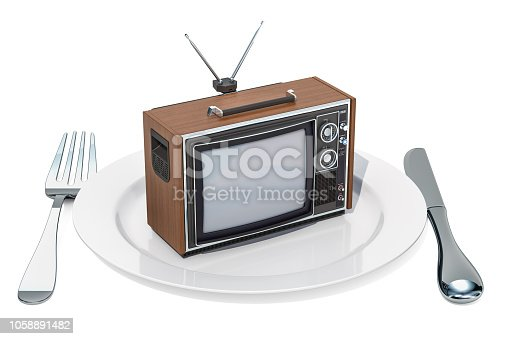 istock TV set on a plate. TV dependence and brainwash concept, 3D rendering isolated on white background 1058891482