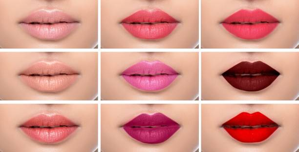set or collage female lips with different color of lipsticks on the female lips. - rossetto foto e immagini stock